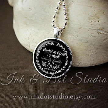 Personalized Class of 2015 Graduation Necklace, Custom 2015 Pendant, 2015 Senior Graduation Gift, Black or Choose School Color