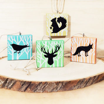 Christmas Tree Ornaments Set of 4, Woodland Animals Rustic Holiday Decor, Handmade Miniature Canvas Art