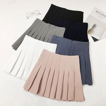2018 Summer High Waist Pleated Skirt Women School Uniform Harajuku Mini Skirts Solid Blue White Gray Pink Black Skater Skirt