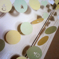 Baby Shower Garland Paper Circle Heart Party Banner Mint Green Pale Yellow White Custom Colors Available
