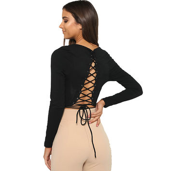 Women T Shirt New Autumn Long Sleeve Plus Size Harajuku Crop Top American Apparel Backless Lace Up Tshirt Women Casual Shirts