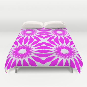 Hot Pink & White Pinwheel Flowers Duvet Cover by 2sweet4words Designs | Society6