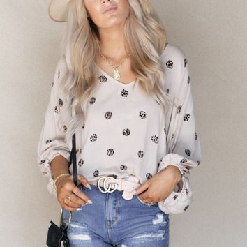 Connect The Dots Leopard Polka Dot Top