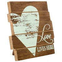 Love Lives Here Wood Plank Plaque | Hobby Lobby