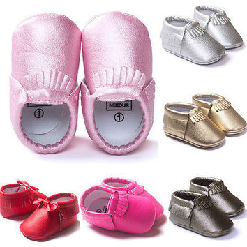 Leather Baby Moccasins Tassel Shoes First Walkers Anti-slip Footwear Newborn Toddler Slip-on Soft Shoes