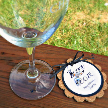 Boos & Booze Cork Halloween Wine Charm Favors for Parties or Gifts