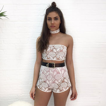 Stylish Casual Set Floral Embroidery Bra Shorts Bottom & Top Sexy Club Jumpsuit [10452581127]