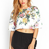 FOREVER 21 Floral Cropped Knit Top White/Green