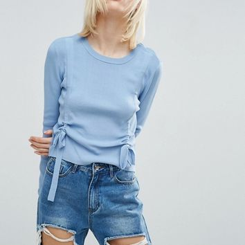 ASOS Sweater With Double Ruched Detail at asos.com
