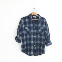 Vintage wool boyfriend flannel / blue and green grunge shirt / tomboy shirt / plaid flannel