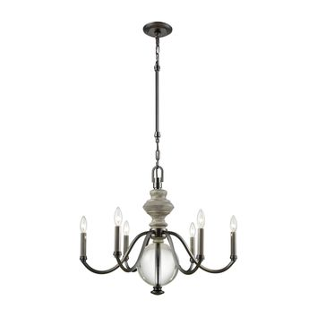 Neo Classica 6 Light Chandelier In Aged Black Nickel With Weathered Birch Finished Wood And Clear Crystal Ball