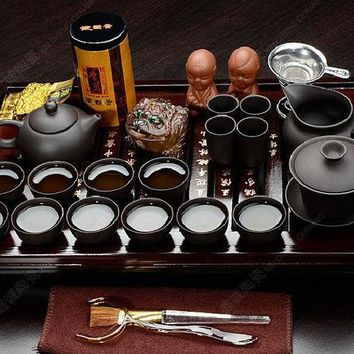 DCCKJG2 Chinese kung fu tea set porcelain tray purple grit ceramic teapot for the tea cups with saucers solid wood the tea pot  26pcs