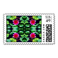 Abstract Pink Waterlily and Green Leaves Postage Stamp