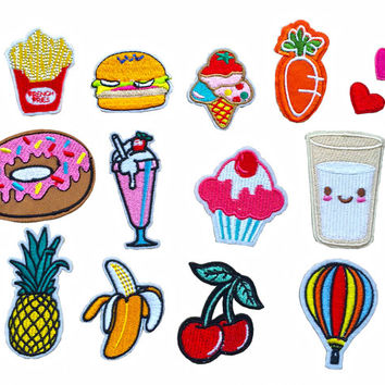 14 Pcs Iron On Embroidered Patch Set - Chips Hamberger Ice Cream Pineapple Cherry Emoji Balloon Love Heart Cocktail Donuts Patch