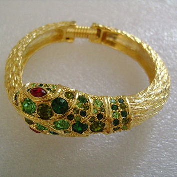 Regal KJL Kenneth Jay Lane Goldtone&Colorful Crystal Wrap Around Coil Snake Hinged Bangle Cuff Bracelet With Red Ruby Rhinestone Eyes 46.1g
