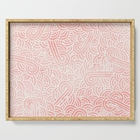 Rose quartz and white swirls doodles Serving Tray by savousepate