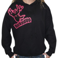 Distressed Hoodie - Black with Pink LogoPurchase