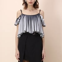 Pleated Shades Cold-shoulder Cropped Top