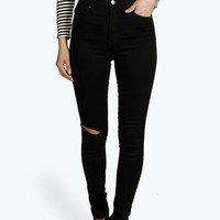 Lara High Rise Cheeky Rip Super Skinny Jeans