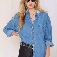 Boyfriend Ripped Holes Denim Rinsed Denim Shirt Blouse [4918734276]