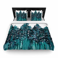 "Ebi Emporium ""Forest Through The Trees 5"" Teal White Woven Duvet Cover"