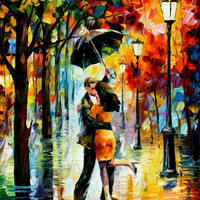 "Dance Under The Rain — PALETTE KNIFE Figure Oil Painting On Canvas By Leonid Afremov - Size: 30"" x 40"" (75cm x 100cm) from afremov art"