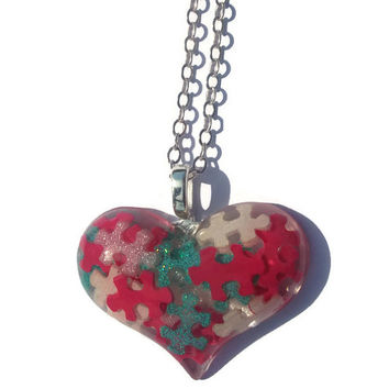 Autism Awareness Heart Puzzle Piece Resin Pendant Necklace, Autism Jewelry, PInk, White, Aqua Blue