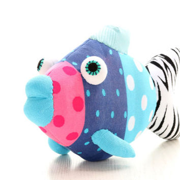 T12  Handmade  Big stuffed Tropical Fish pink  blue  Polka Dot with purple  mouth Stuffed Animal Doll Baby Toys kids pillow Finding Nemo