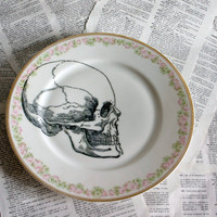 Skull Rosedale Altered Vintage Large Plate