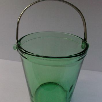 Green Depression Glass Ice Bucket Pail Vintage Decorative