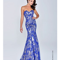 Strapless Royal Blue Mermaid Gown