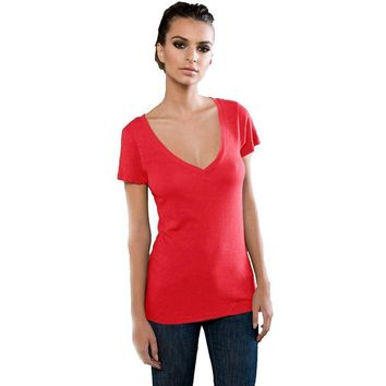 Yoga Clothing for You Ladies Eco Slub Deep V-neck Yoga Tee Shirt