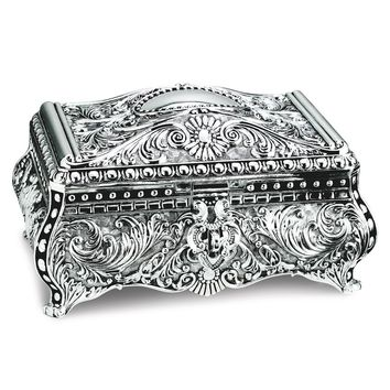 Silver-plated Rectangular Footed Jewelry Box