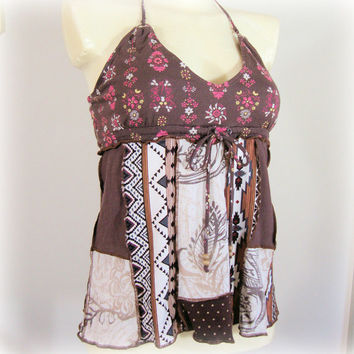 Small Tribal Top, ON SALE-20% OFF! OOAK Halter Top, Upcycled Clothing, Beachwear ~ Altered Couture by Pandora's Passions