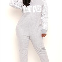 Plus Size Whatever Onesuit with Fair Isle Print Sleeves and Hood