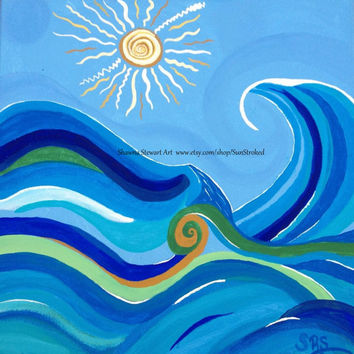 PRINT, Waves In The Sun, abstract acrylic energy painting, Shawna Stewart art, Free shipping, Beach, ocean