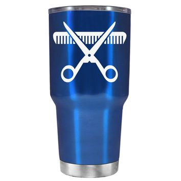 HairStylist Scissor and Comb Silhouette on Translucent Blue 30 oz Tumbler Cup