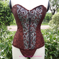 Brown Steel Boned Steampunk Style Corset Sexy Front Zipper Corset Bustier