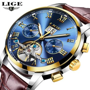 LIGE Watches Men Sport Men's Mechanical Watches Fashion Business Automatic Watch Man Waterproof Leather Clock relogio masculino