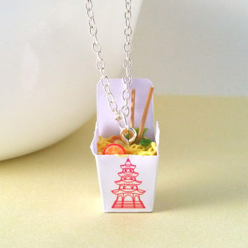 "Miniature Food Necklace Chinese Chow Mein Noodles Take Out with 24"" inch Silver Plated Chain"