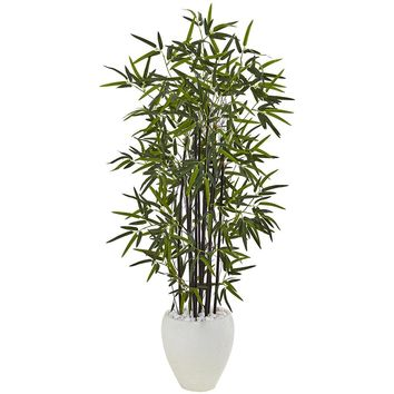 Artificial Silk Tree -5 Ft Black Bamboo Tree In White Oval Planter