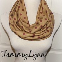 NEW!! Maroon Polka Dots on Caramel Ponte De Roma Knit Infinity Scarf Women's Accessories