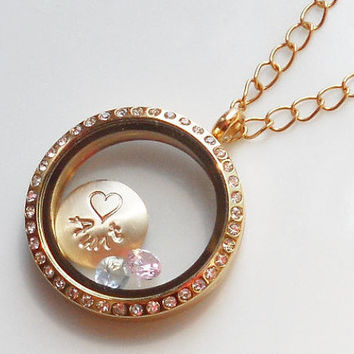 Mothers Day Gold CZ Halo Locket Necklace . Custom Gold Disc . 3 Gemstones . Personalized, Stamped, Mom Grandma  Gift