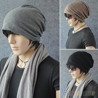 Women Men Fashion Slouch Winter Knit Scarf Hip-Hop Cap Beanie Hat Ski Crochet = 1958392580