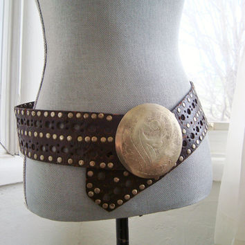 Amazing Distressed Leather Moroccan Belt With Etched Silver Buckle and Silver Studs