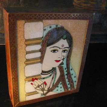 Reverse Glass Painted India Jewelry Boxes Portraits Star Inlaid Wood