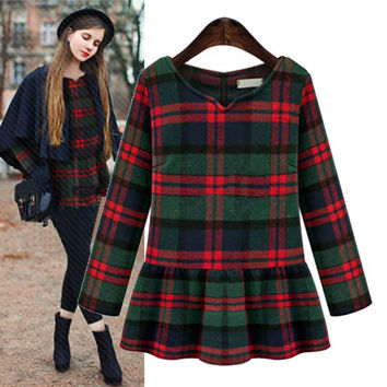 Plaid Long-Sleeve Peplum Sweater