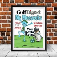 Rick and Morty Mr Meeseeks Golf Digest Adult Swim Gift Sanchez Christmas Poster