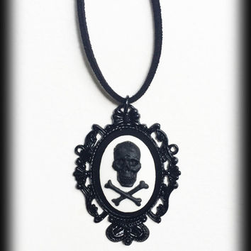 Gothic Victorian Black Skull and Crossbones Cameo Necklace - Black Baroque Frame