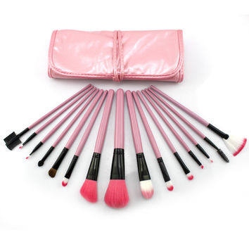 Beauty Tools 15-pcs Pink Makeup Brush Sets [6050184193]